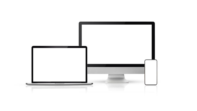 set new model of computer display or desktop and smartphone laptop on white background,Mockup Separate Groups