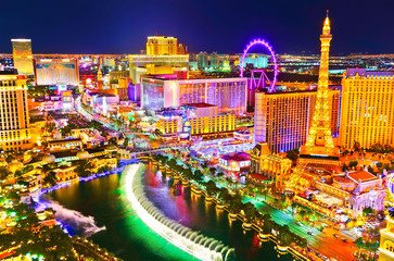 View of the Las Vegas Boulevard at night with lots of hotels and casinos in Las Vegas. Wall mural