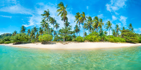 Panorama of beach on tropical island