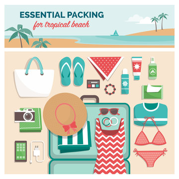 Essential packing for tropical beach