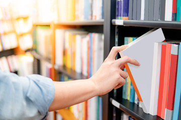 Bestseller publishing concept. Male hand choosing and picking white book from wooden bookshelf in bookstore. Education research in university public library. Wall mural