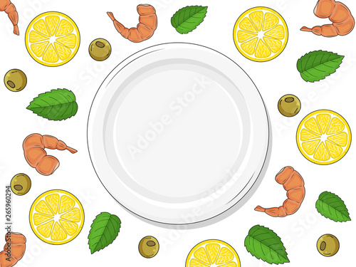 template for your design. empty plate on white background ...