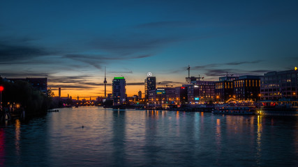 Berlin Skyline, City Panorama with blue sky sunset at the river Spree