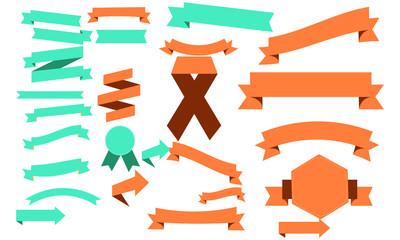 set design banners colorful ribbons illustration