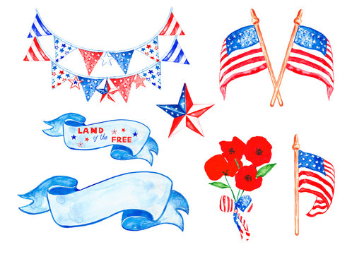 Memorial day watercolor set with US flags, stars, decorative hanging, poppies, vintage banners isolated on white background. 4th of july elements collection.