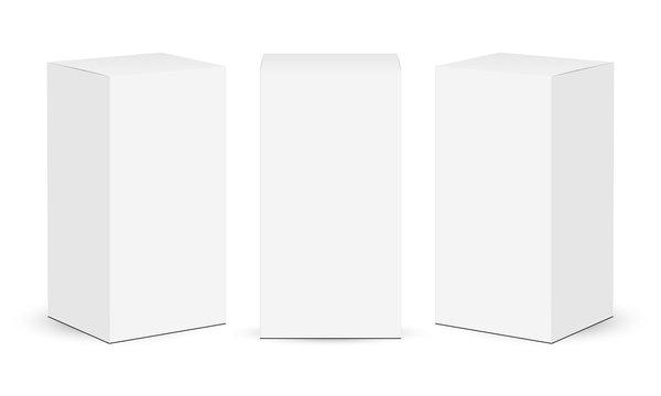 Cardboard rectangular boxes isolated on white background. Vector illustration