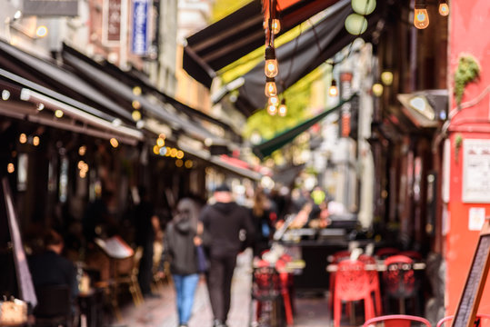 Hardware Lane in Melbourne, Australia is a popular tourist area filled with cafes and restaurants featuring al fresco dining.