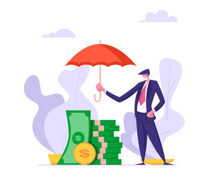 Money Insurance Concept with Businessman Holding Umbrella Under Stack of Banknotes. Money Protection Financial Savings, Secure Investment. Vector flat cartoon illustration