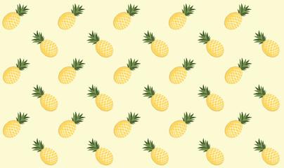 Minimal pastel yellow pineapple pattern seamless background summer fruite vector graphic