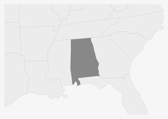 Map of USA with highlighted Alabama state map
