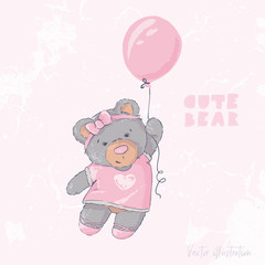 Cute bear flying with a balloon. Happy Birthday. Templete vector illustration.