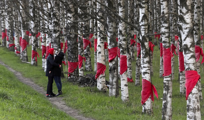 A couple share a moment near trees tied with red scarves in memory of the children who died in the Leningrad siege, part of World War Two, outside Saint Petersburg