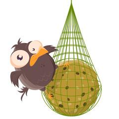 funny cartoon illustration of a bird on a titmouse dumpling