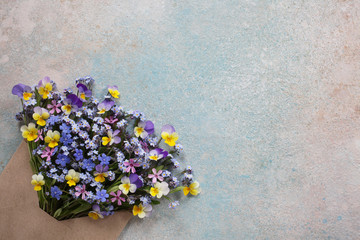 Colored background for congratulations with forget-me-not flowers and pansies