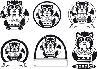 little cute tanuki eats noodles ramen, logo design illustration