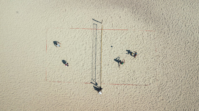Beach volleyball top view. Sports and beach sports. Photographed from the drone. Aero photo filming
