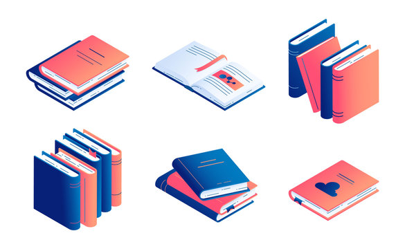 Isometric book vector illustration set - isolated closed and open paper literature or diary.