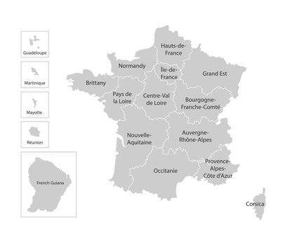 Vector isolated illustration of simplified administrative map of France. Borders and names of the regions.