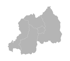 Vector isolated illustration of simplified administrative map of Rwanda. Borders of the regions. Grey silhouettes