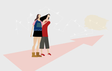 Two girls looking to the future and making decisions for themselves. Modern everyday life concept.