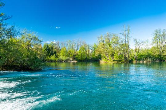 Beautiful green Mreznica river, in Belavici, Croatia, nature countryside landscape