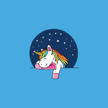 sleeping unicorn cartoon