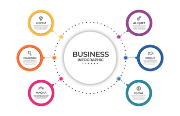 Business infographic template. Timeline concept for presentation, report, infographic and business data visualization. Round design elements with space for text Fototapete