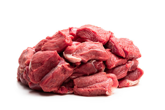 Boneless lamb steak meat isolated on white
