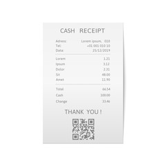 Receipts printed bills. Paper check, sell receipt or bill template