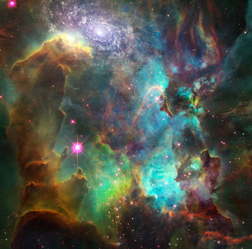 Vivid nebula and galaxy