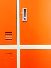 Orange colored locker panel