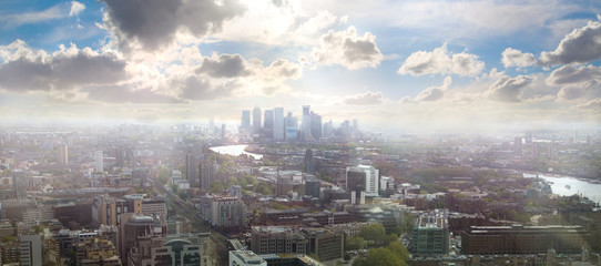 Canary Wharf in the morning. Beautiful view on the business and banking aria of London. UK