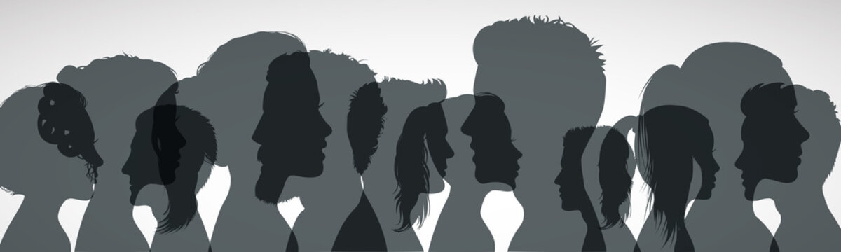 Group young people. Profile silhouette faces girls and boys – vector for stock