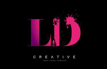 Fototapeta Purple Pink LD L D Letter Logo Design with Ink Watercolor Splash Spill Vector. obraz