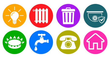 Utilities icons in flat style: water, gas, lighting, heating, phone, waste, security, rent – stock vector