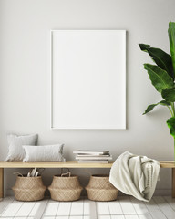 mock up poster frame in modern interior background, living room, Scandinavian style, 3D render, 3D illustration