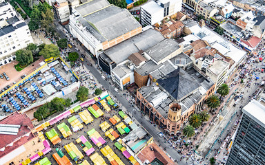 Streets of downtown Bogota Colombia where you can see the flea market