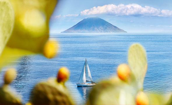 Salina Island, Italy. Panoramic view of Stromboli.