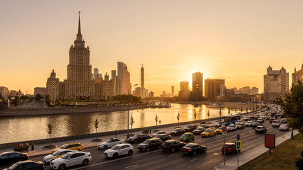 Fototapete - Moscow cityscape at sunset, Russia