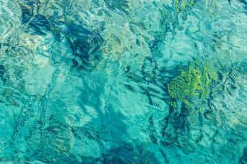 clean aquamarine color swimming pool transparent water blurred background wallpaper pattern