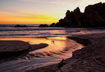 Sycamore Canyon Creek at Sunset, Pfeiffer Beach, Los Padres National Forest, CA