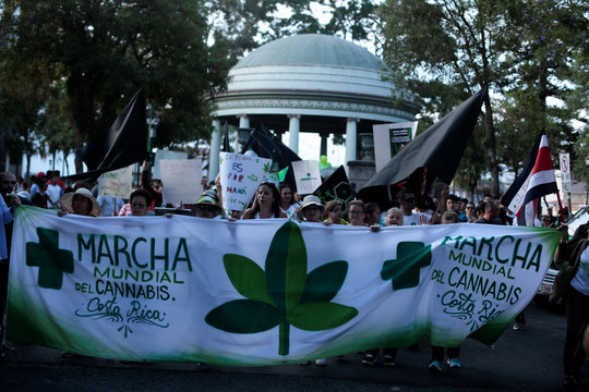 People demonstrate to demand the legalization of the use of marijuana in San Jose