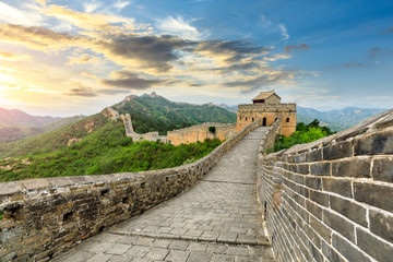 Deurstickers Chinese Muur The Great Wall of China at sunset