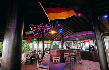 An empty bar is seen at the Warahena Beach hotel in Bentota