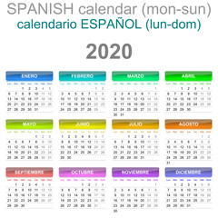 2020 Calendar Spanish Language Monday to Sunday