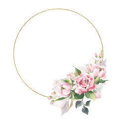 Composition with a golden round frame and gentle pastel watercolor bouquet with beautiful garden flowers