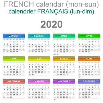 2020 Calendar French Language Monday to Sunday