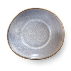 Empty Stoneware Dish Top View Isolated on White