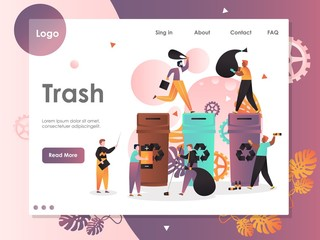 Trash vector website landing page design template
