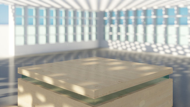 Adobe dimension background interior table wood white room 3d render